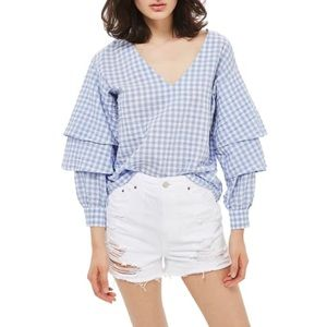 Topshop gingham tiered ruffle sleeve blouse 6